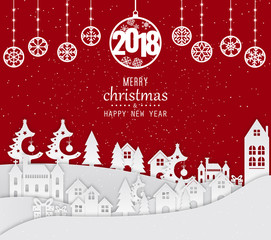 Happy New Year 2018 and Merry Christmas Background, Carte de voeux - New year greeting card. 2018 Happy New Year Background for your Seasonal Flyers and Greetings Card.