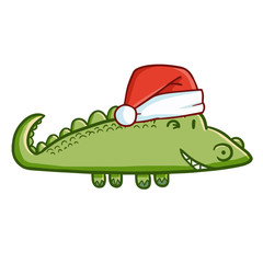 Funny and cute crocodile wearing Santa's hat and smiling - vector.