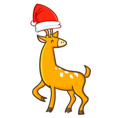 Funny and cute deer wearing Santa's hat for Christmas and smiling - vector.