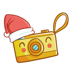 Funny and cute yellow compact digital camera wearing Santa's hat for Christmas and smiling - vector.