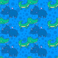 smiling crocodile, Rhinoceros,