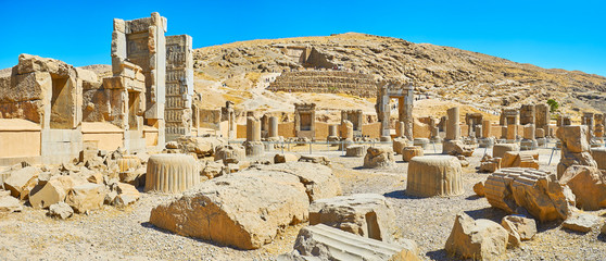 Panorama of Hundred Columns Hall in Persepolis, Iran