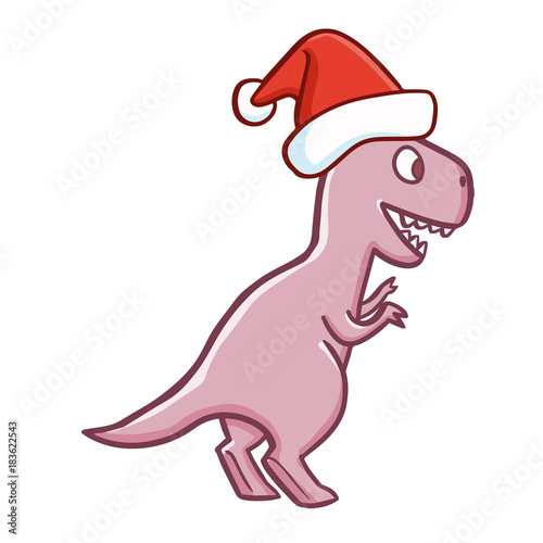 cute and funny purple t rex wearing santa s hat for christmas and