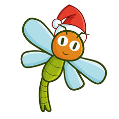 Funny and cute dragonfly wearing Santa's hat for Christmas and smiling - vector.