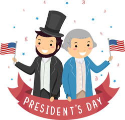 Stickman Lincoln Washington Presidents Day Illustration