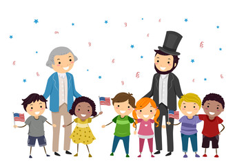 Stickman Kids Lincoln Washington Illustration