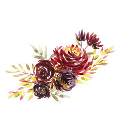 Flowers watercolor illustration. A bouquet with a big red peony and small flowers in bright colors. Watercolor horizontal composition.