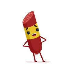 Smiling salami character with yellow brand label standing with arms akimbo. Flat vector design for food market or butcher store