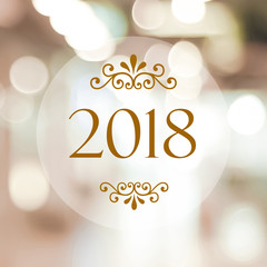 Happy New Year 2018 on abstract blur festive bokeh background, banner, 2018 new year greeting card