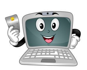 Laptop Mascot Credit Card Online Payment