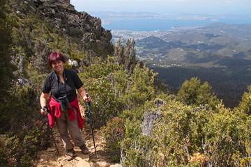 Tourist on hiking track on Mount Wellington in Tasmania
