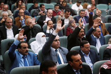 Members of the Jordanian parliament seen during an emergency meeting to discuss a potential announcement by the U.S. to move its embassy to Jerusalem, at the parliament in Amman