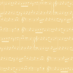 vector background - light beige seamless pattern with music notes
