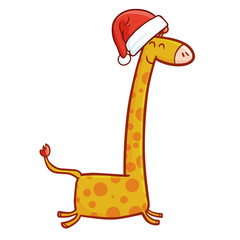 Cute and funny giraffe running wearing Santa's hat for Christmas and smiling - vector.