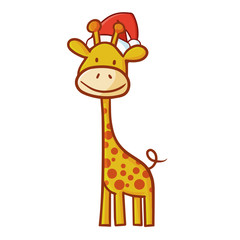 Cute and funny abstract giraffe wearing Santa's hat for Christmas and smiling - vector.
