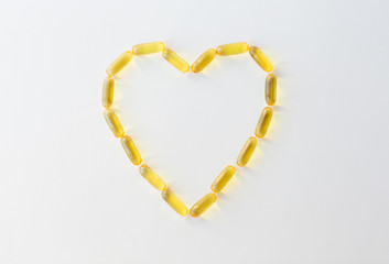 cod liver oil capsules in shape of heart