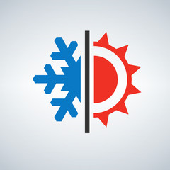 Hot and cold symbol sun and snowflake