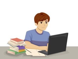 Teen Boy Laptop Study