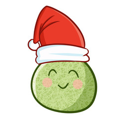 Cute and funny melon wearing Santa's hat and smiling - vector.