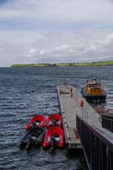 Rigid inflatable boat at pier. Wild Atlantic Way, Ireland