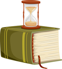 Thick Book Hour Glass Illustration