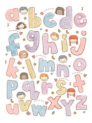 Kids Sketch Alphabet Illustration