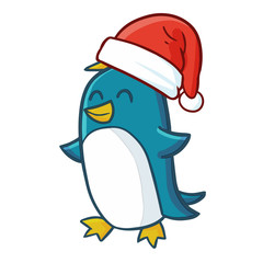 Cute and funny blue penguin wearing Santa's hat and smiling - vector