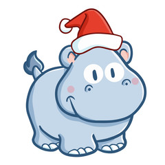 Cute and funny blue baby rhino wearing Santa's hat for Christmas and smiling - vector.