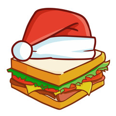 Funny, cool, and cute sandwich wearing Santa's hat - vector.