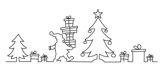 Continuous Line Art Drawing. Weihnachtsmann legt Geschenke unter den Weihnachtsbaum. Grußkarte