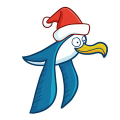 Cute and funny blue seagull wearing Santa's hat for Christmas and smiling - vector.