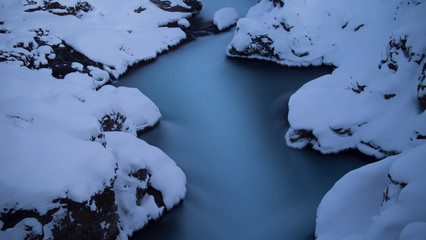 Winter river background from above, long exposure photo, Iceland