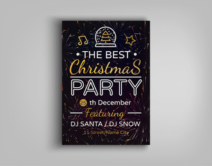 Christmas party brochure vector illustration. Template Design Christmas party invitation. Winter holidays, Christmas card, flyer, banner, postcard. Vector illustration for your projects