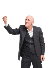 Grandfather showing fist aside on white isolated background