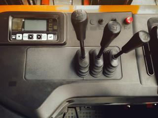 top view of display and panel control of forklift truck for lift and move  part in factory
