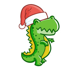 Cute and funny T-rex wearing Santa's hat for Christmas and smiling - vector.