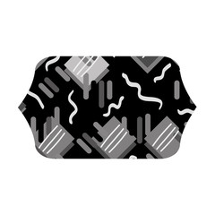 grayscale contour rectangle with graphic memphis geometric background