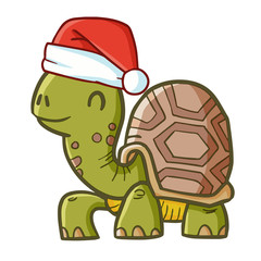 Cute and funny crawling turtle wearing Santa's hat for Christmas and smiling - vector.