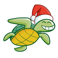 Cute and funny young turtle wearing Santa's hat for Christmas and smiling - vector.