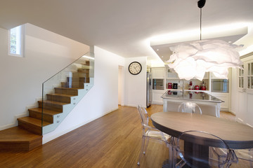 Living and kitchen in open space