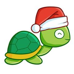 Cute and funny turtle wearing Santa's hat and smiling - vector