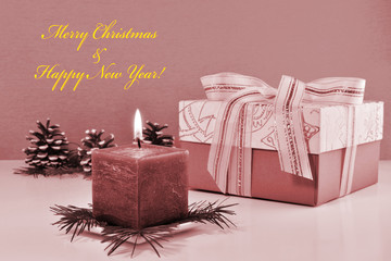 Monochrome Christmas background, vintage greeting card with burning candle