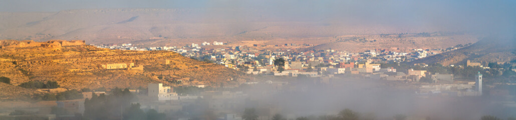 Panorama of Tataouine in the morning fog. Southern Tunisia