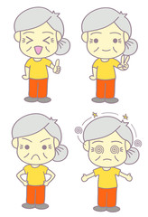 Old woman with 4 emotions