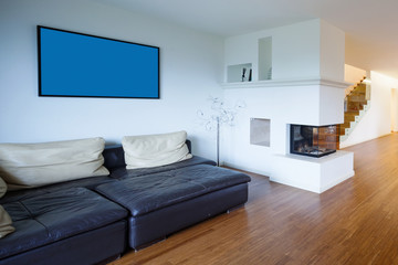 Open space with small fireplace