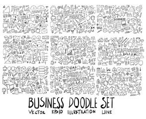 Big Set of Business illustration Hand drawn doodle Sketch line vector eps10