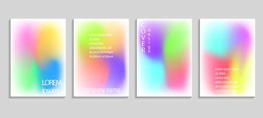 Minimal fluid colors covers set. Future geometric gradient background. Vector templates for placards, banners, flyers, presentations and reports