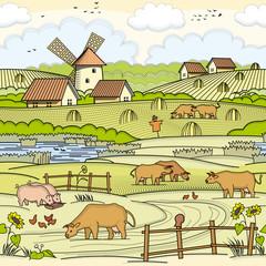 Village area illustration