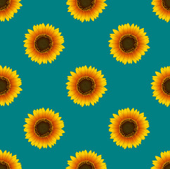 Sunflower Seamless on Green Teal Background