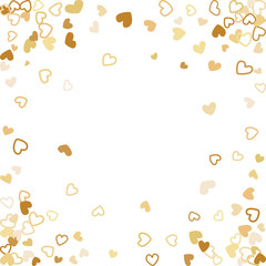 Flying gold hearts frame vector border. Background illustration with heart confetti love symbols for wedding invitation card template, Valentine's day love holiday banner frame in gold color.